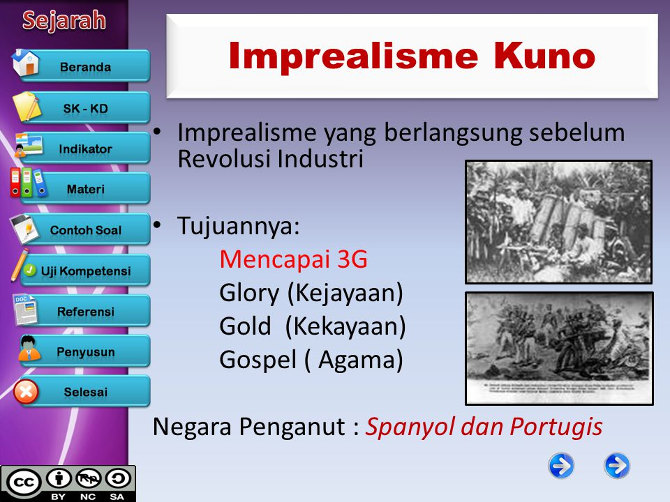 Imprealisme Kuno Imprealisme yang berlangsung sebelum Revolusi Industri. Tujuannya: Mencapai 3G. Glory (Kejayaan)