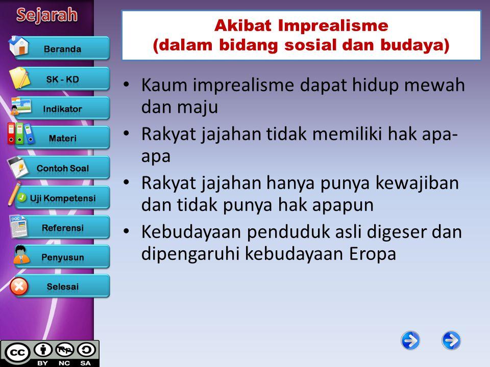 Akibat Imprealisme (dalam bidang sosial dan budaya)