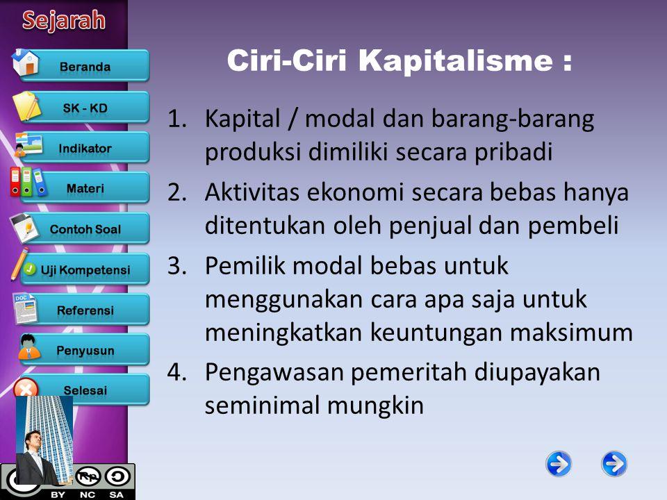 Ciri-Ciri Kapitalisme :