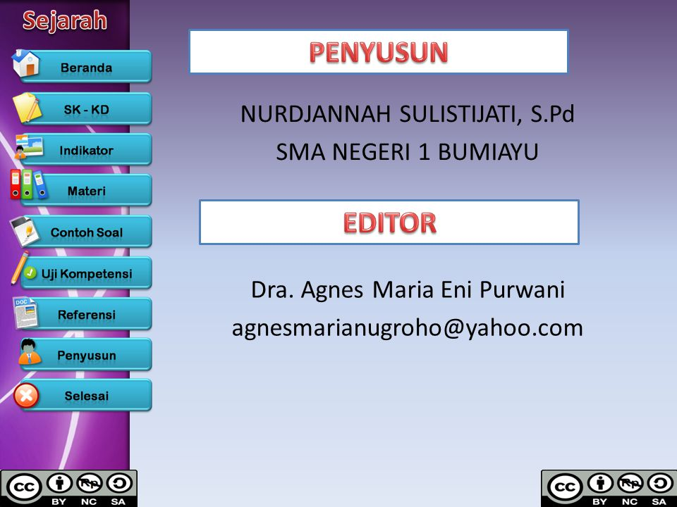 PENYUSUN EDITOR NURDJANNAH SULISTIJATI, S.Pd SMA NEGERI 1 BUMIAYU