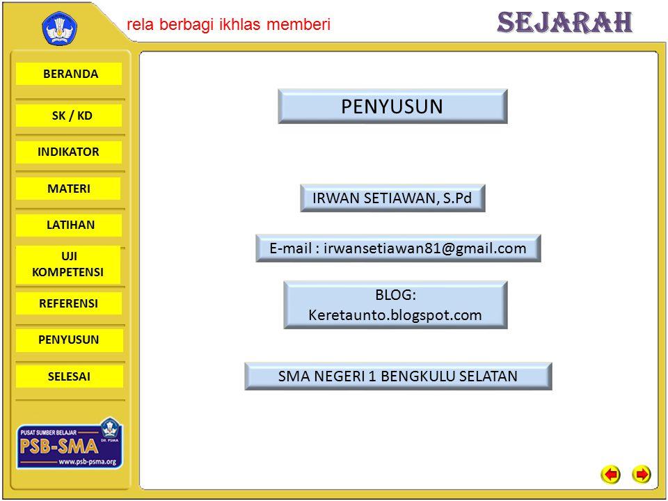 PENYUSUN IRWAN SETIAWAN, S.Pd E-mail : irwansetiawan81@gmail.com BLOG: