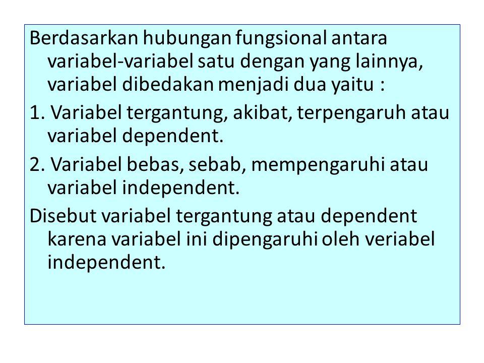 Berdasarkan hubungan fungsional antara variabel-variabel satu dengan yang lainnya, variabel dibedakan menjadi dua yaitu : 1.