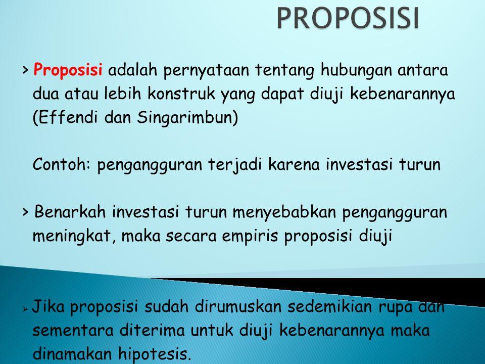 PROPOSISI > Proposisi adalah pernyataan tentang hubungan antara