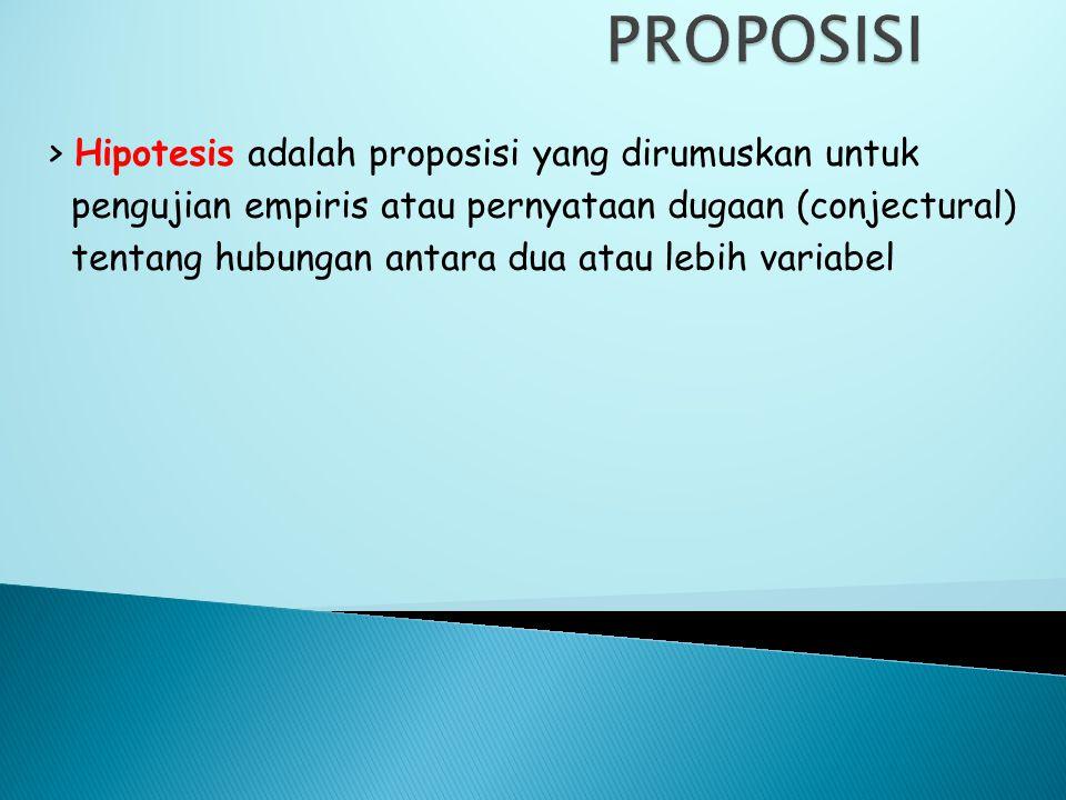 PROPOSISI > Hipotesis adalah proposisi yang dirumuskan untuk