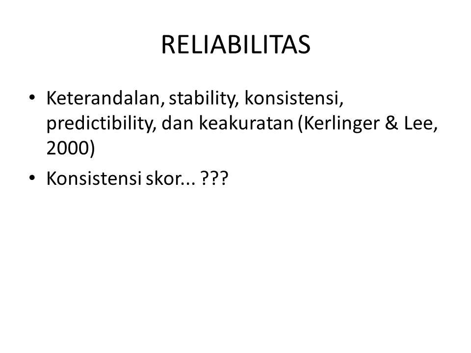 RELIABILITAS Keterandalan, stability, konsistensi, predictibility, dan keakuratan (Kerlinger & Lee, 2000)