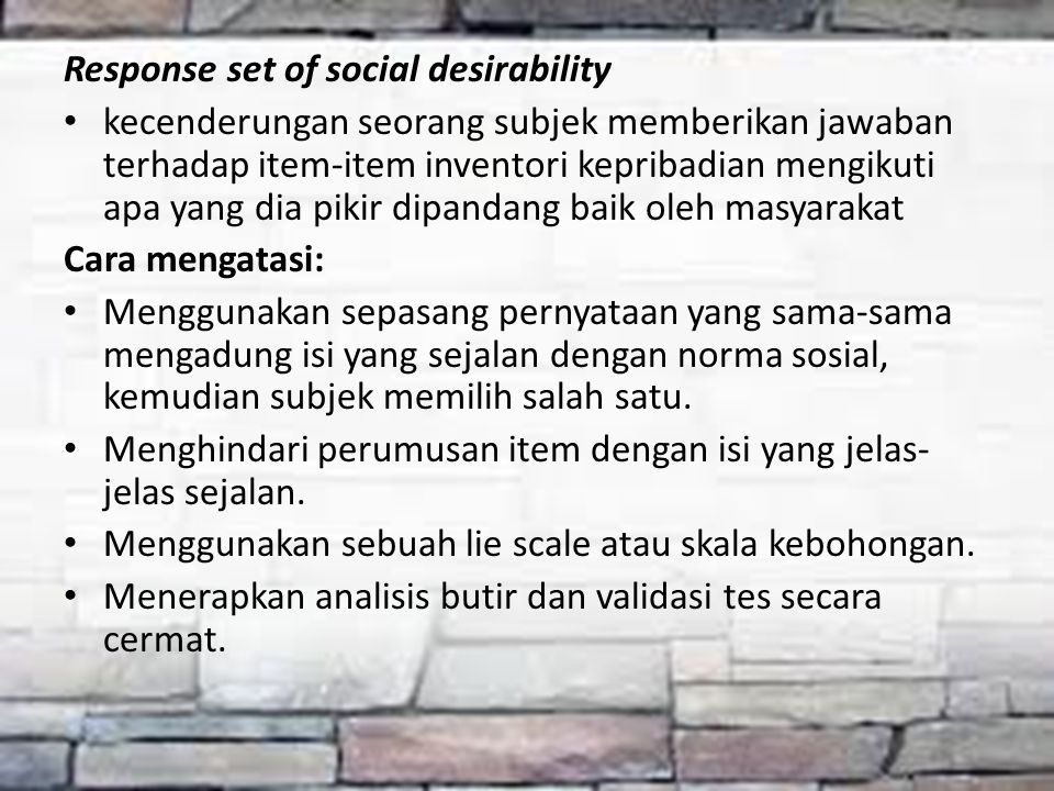 Response set of social desirability