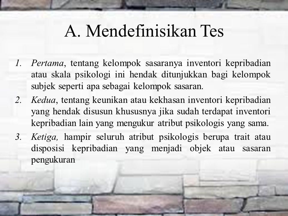 A. Mendefinisikan Tes