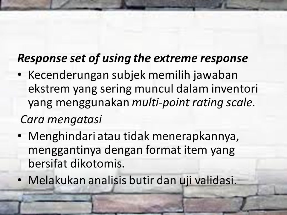 Response set of using the extreme response