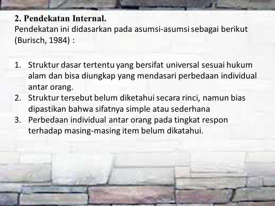 2. Pendekatan Internal. Pendekatan ini didasarkan pada asumsi-asumsi sebagai berikut (Burisch, 1984) :