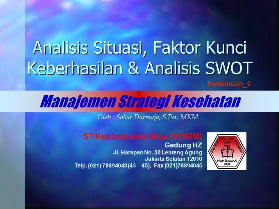 Analisis Situasi, Faktor Kunci Keberhasilan & Analisis SWOT
