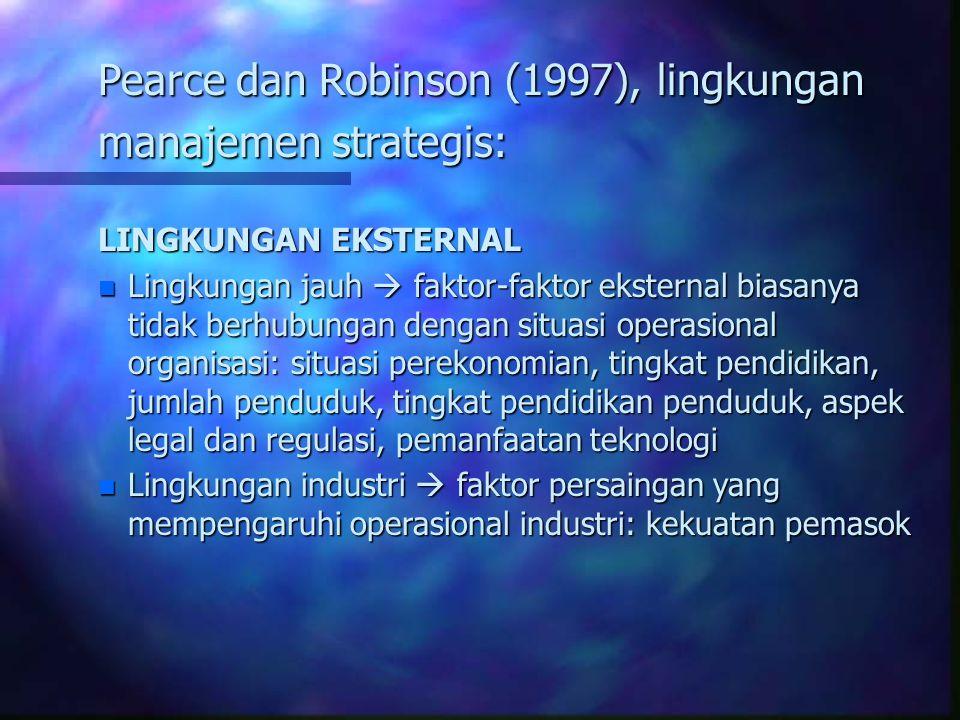Pearce dan Robinson (1997), lingkungan manajemen strategis: