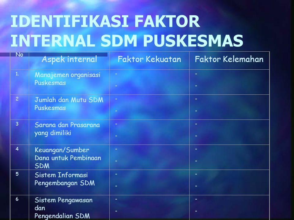 IDENTIFIKASI FAKTOR INTERNAL SDM PUSKESMAS