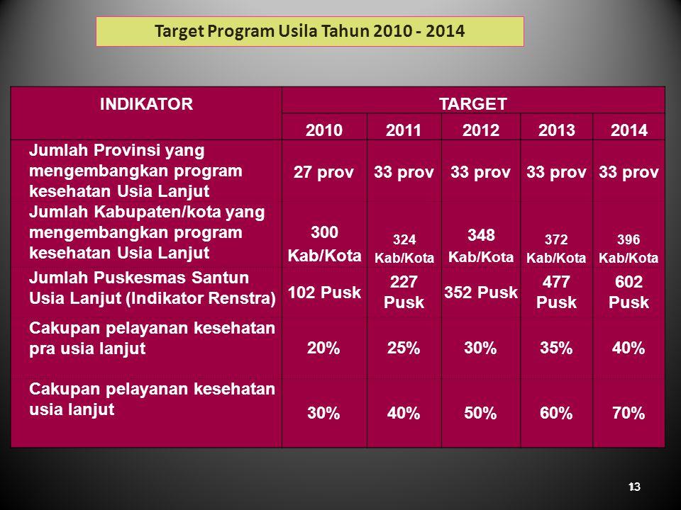 Target Program Usila Tahun 2010 - 2014