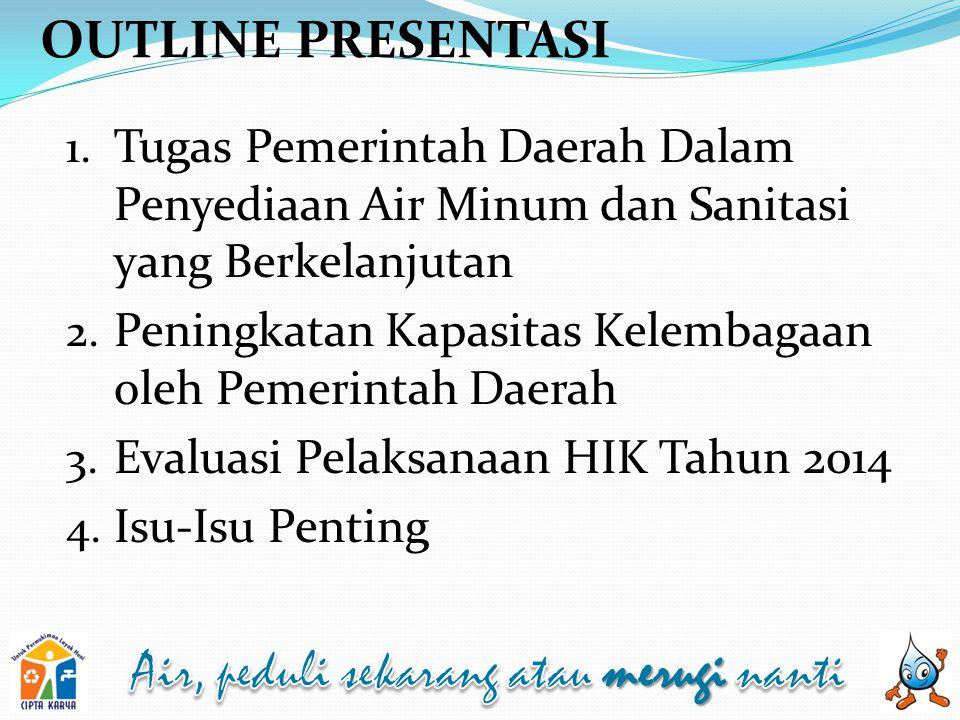 OUTLINE PRESENTASI Tugas Pemerintah Daerah Dalam Penyediaan Air Minum dan Sanitasi yang Berkelanjutan.