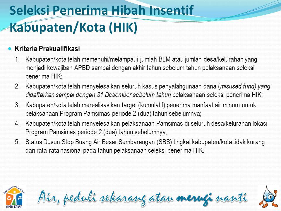 Seleksi Penerima Hibah Insentif Kabupaten/Kota (HIK)