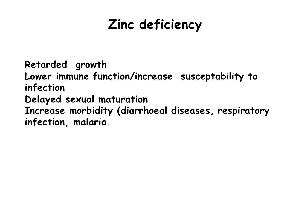 Zinc deficiency Retarded growth