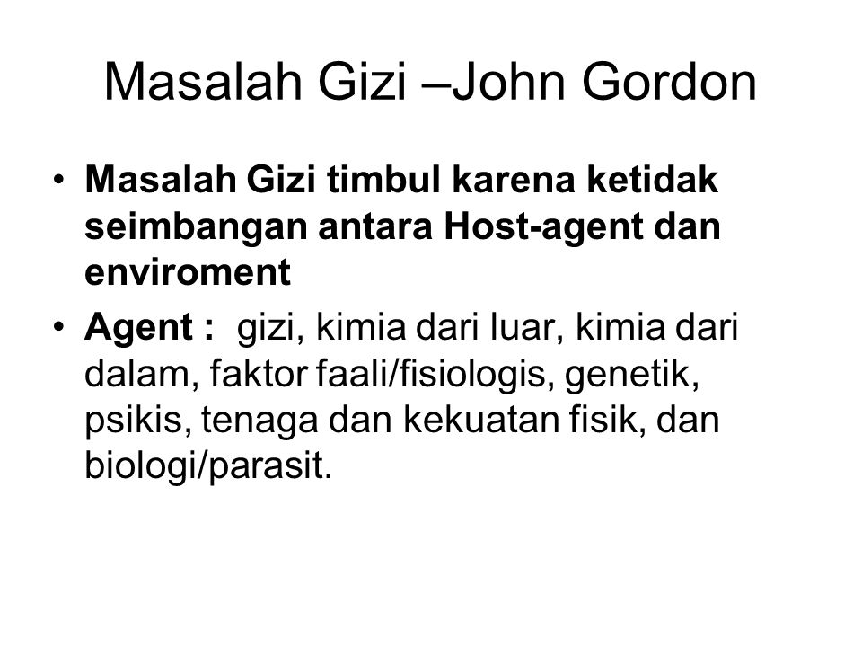 Masalah Gizi –John Gordon