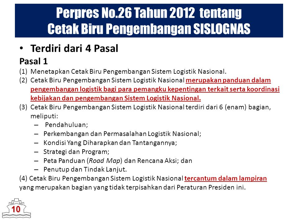Perpres No.26 Tahun 2012 tentang Cetak Biru Pengembangan SISLOGNAS