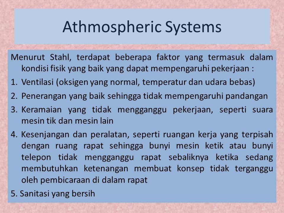 Athmospheric Systems Menurut Stahl, terdapat beberapa faktor yang termasuk dalam kondisi fisik yang baik yang dapat mempengaruhi pekerjaan :