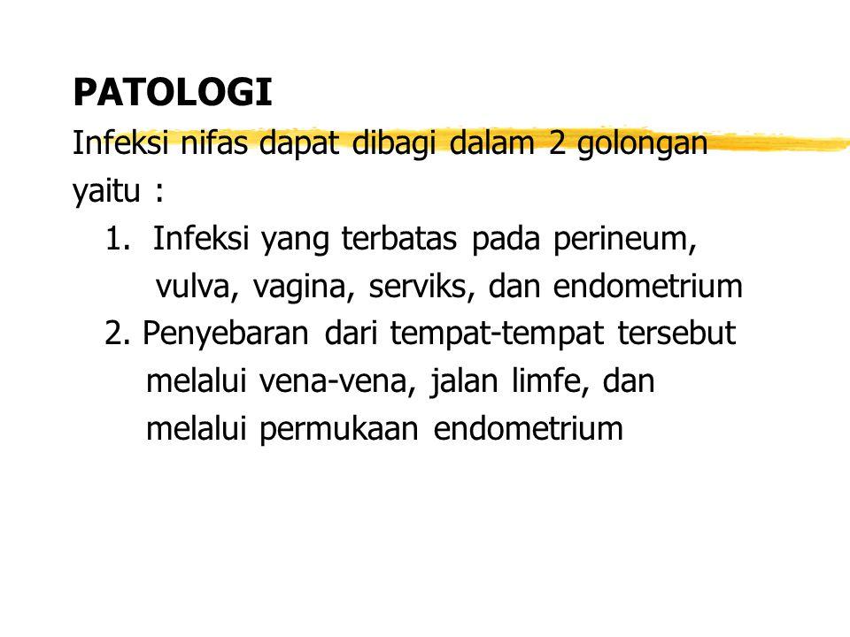 PATOLOGI Infeksi nifas dapat dibagi dalam 2 golongan yaitu :