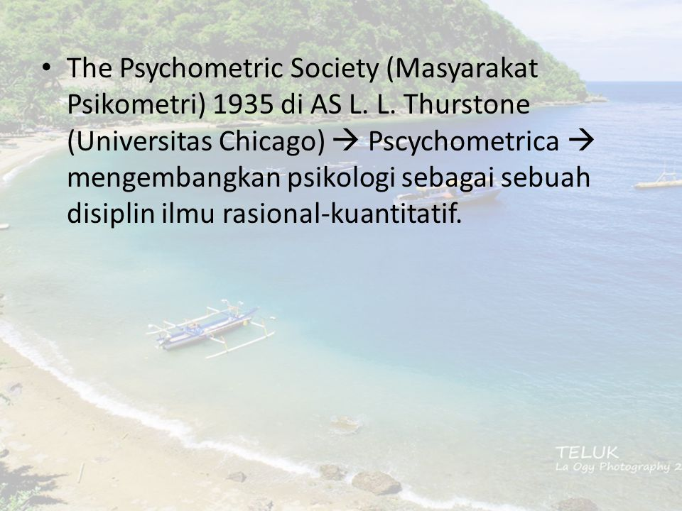 The Psychometric Society (Masyarakat Psikometri) 1935 di AS L. L