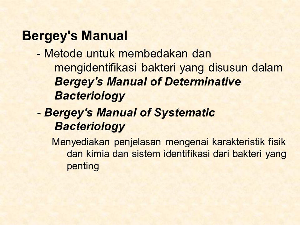 Bergey s Manual - Metode untuk membedakan dan mengidentifikasi bakteri yang disusun dalam Bergey s Manual of Determinative Bacteriology.
