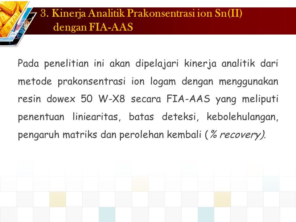3. Kinerja Analitik Prakonsentrasi ion Sn(II) dengan FIA-AAS
