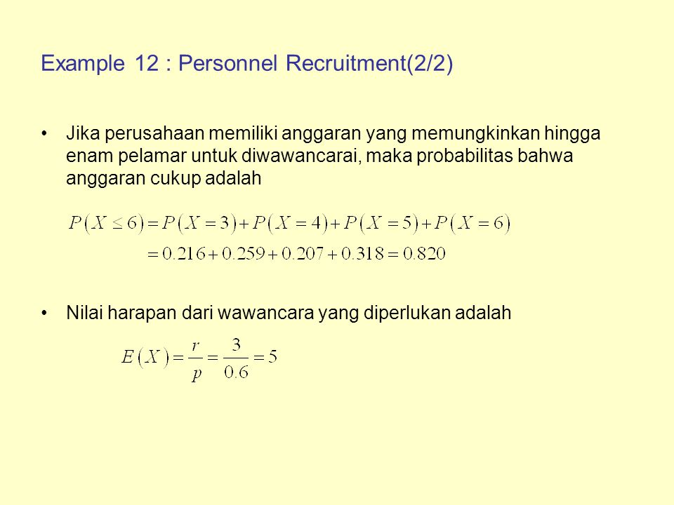 Example 12 : Personnel Recruitment(2/2)