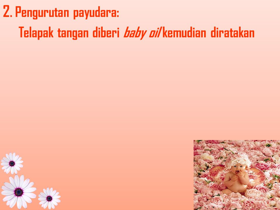 2. Pengurutan payudara: Telapak tangan diberi baby oil kemudian diratakan