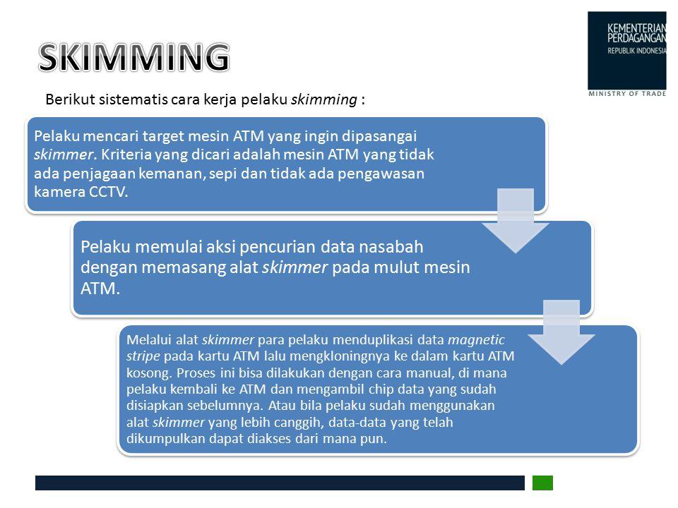 SKIMMING Berikut sistematis cara kerja pelaku skimming :