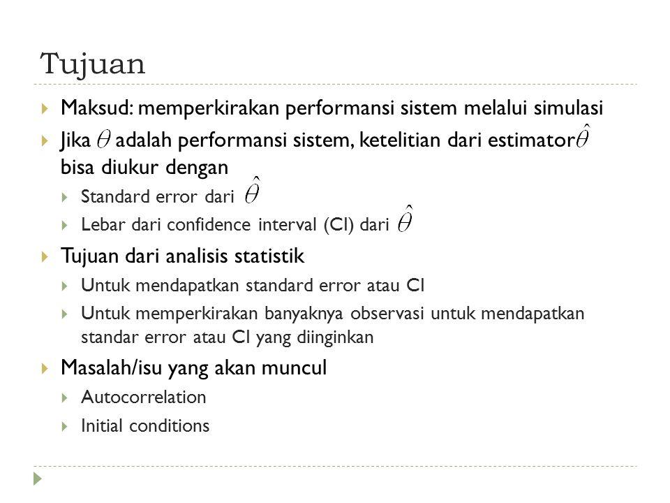 Tujuan Maksud: memperkirakan performansi sistem melalui simulasi