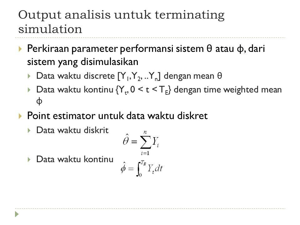 Output analisis untuk terminating simulation