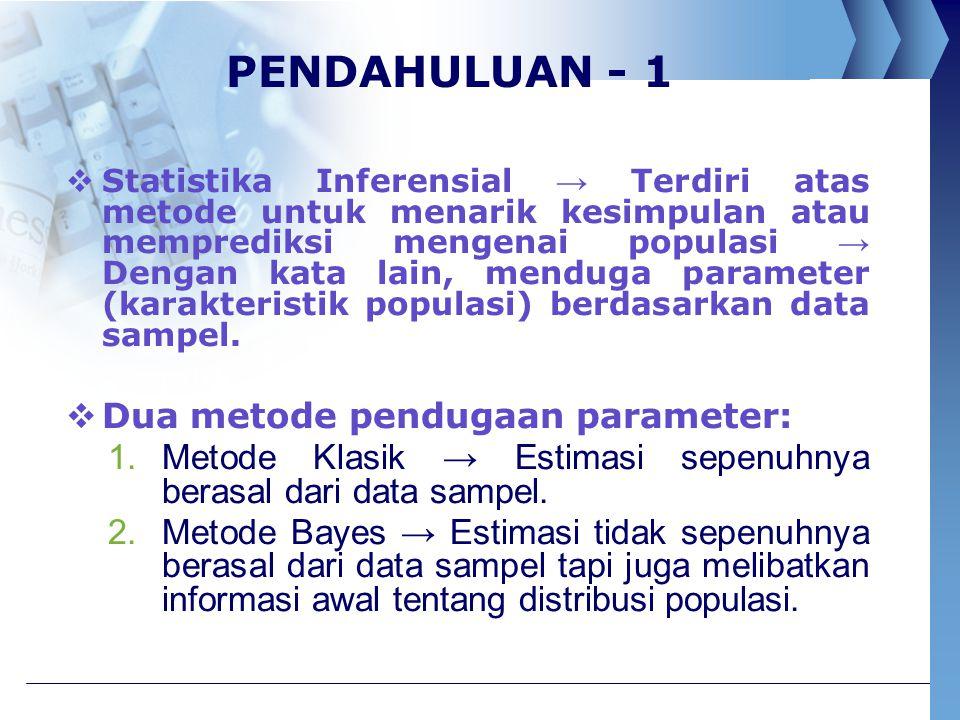PENDAHULUAN - 1 Dua metode pendugaan parameter: