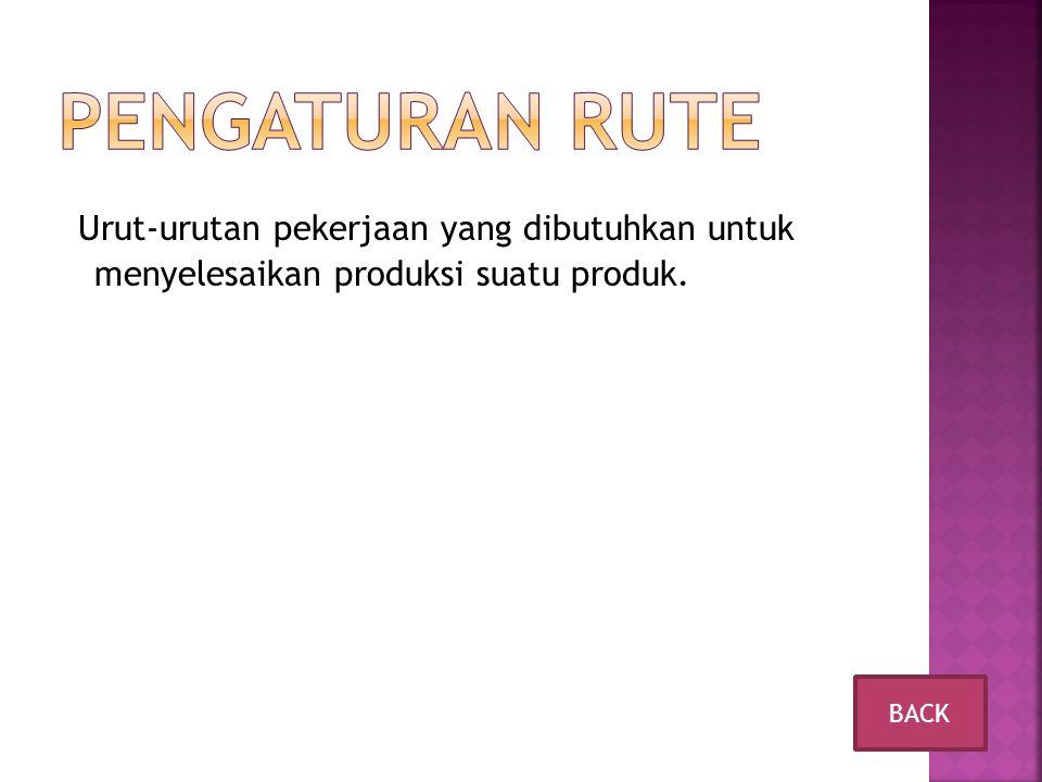 Pengaturan Rute Urut-urutan pekerjaan yang dibutuhkan untuk menyelesaikan produksi suatu produk.
