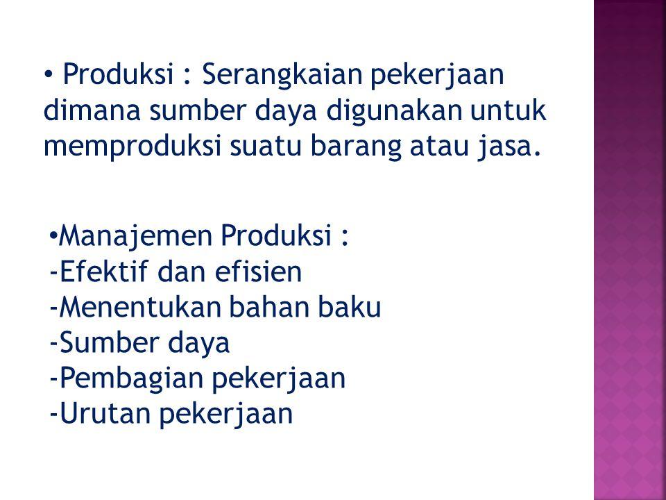 Produksi : Serangkaian pekerjaan dimana sumber daya digunakan untuk memproduksi suatu barang atau jasa.