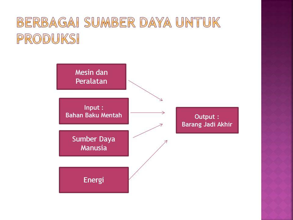 Berbagai Sumber Daya untuk Produksi