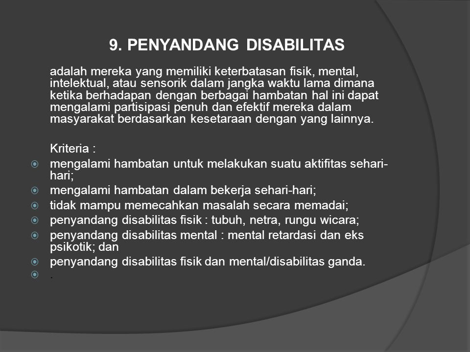 9. PENYANDANG DISABILITAS
