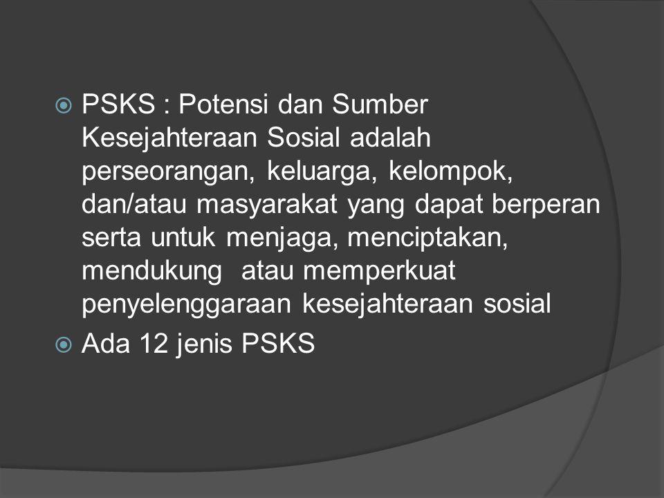 PSKS : Potensi dan Sumber Kesejahteraan Sosial adalah perseorangan, keluarga, kelompok, dan/atau masyarakat yang dapat berperan serta untuk menjaga, menciptakan, mendukung atau memperkuat penyelenggaraan kesejahteraan sosial