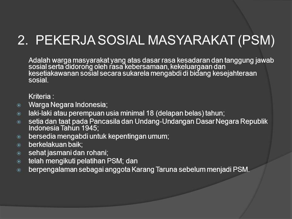 2. PEKERJA SOSIAL MASYARAKAT (PSM)