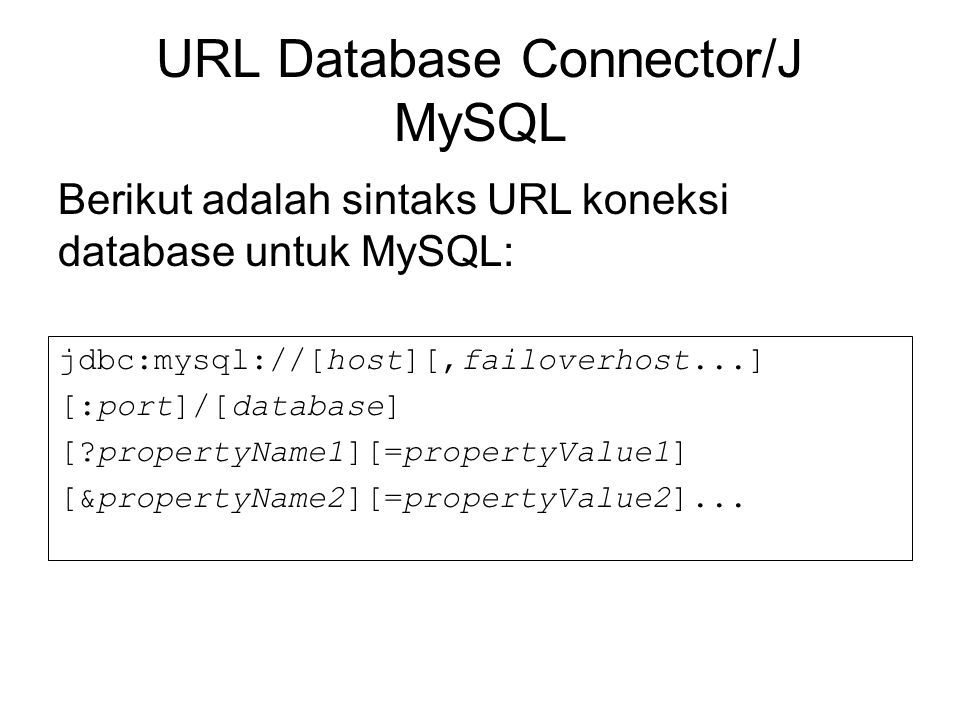 URL Database Connector/J MySQL