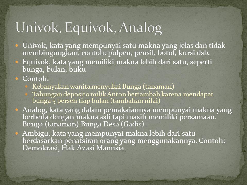 Univok, Equivok, Analog Univok, kata yang mempunyai satu makna yang jelas dan tidak membingungkan, contoh: pulpen, pensil, botol, kursi dsb.