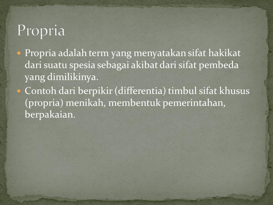Propria Propria adalah term yang menyatakan sifat hakikat dari suatu spesia sebagai akibat dari sifat pembeda yang dimilikinya.