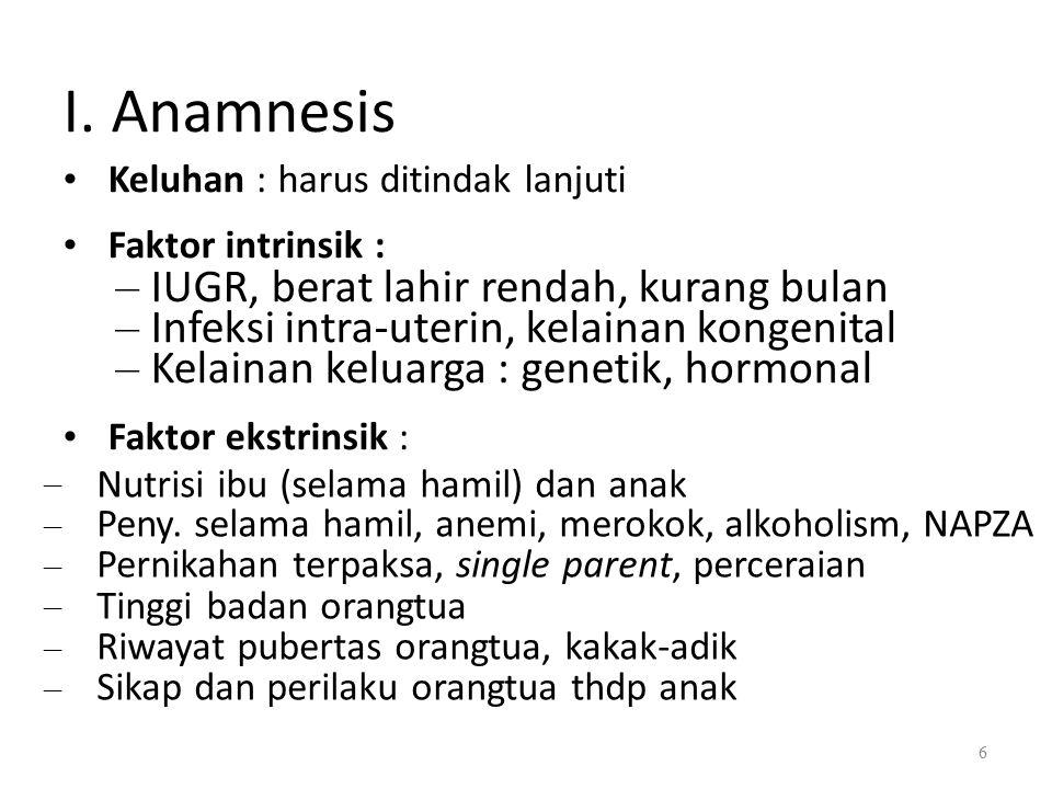 I. Anamnesis Nutrisi ibu (selama hamil) dan anak
