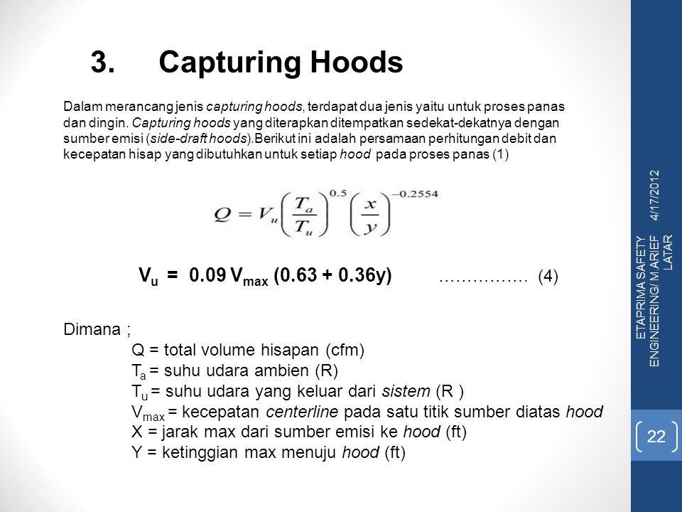 3. Capturing Hoods Vu = 0.09 Vmax (0.63 + 0.36y) ……………. (4) Dimana ;