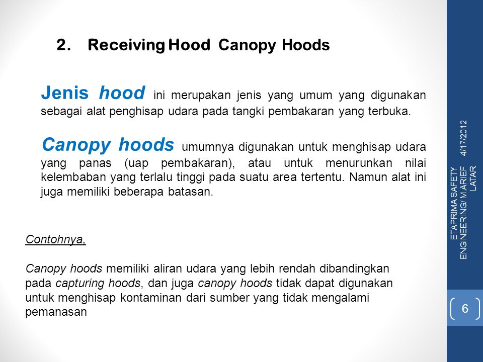 2. Receiving Hood Canopy Hoods