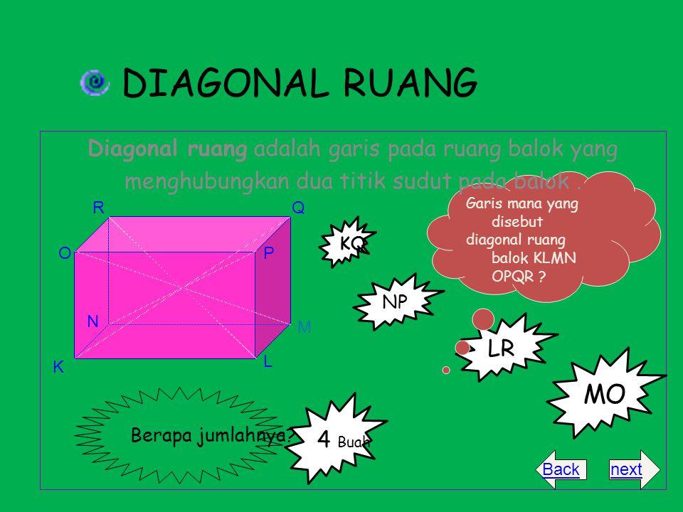 DIAGONAL RUANG MO Diagonal ruang adalah garis pada ruang balok yang