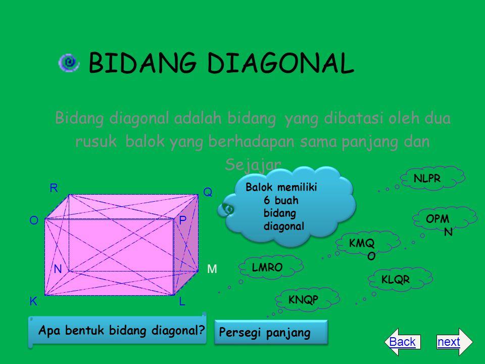 BIDANG DIAGONAL Bidang diagonal adalah bidang yang dibatasi oleh dua