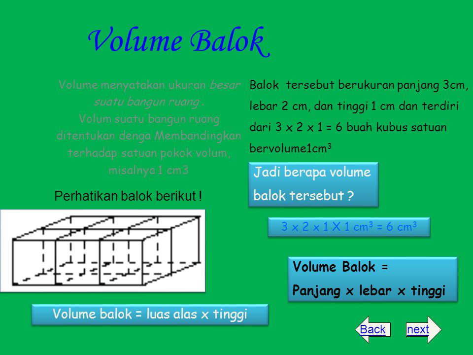 Volume Balok Jadi berapa volume balok tersebut