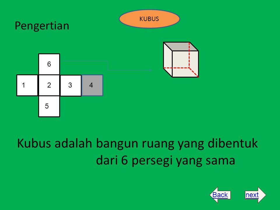 Kubus adalah bangun ruang yang dibentuk dari 6 persegi yang sama