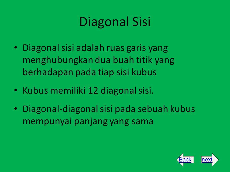 Diagonal Sisi Diagonal sisi adalah ruas garis yang menghubungkan dua buah titik yang berhadapan pada tiap sisi kubus.